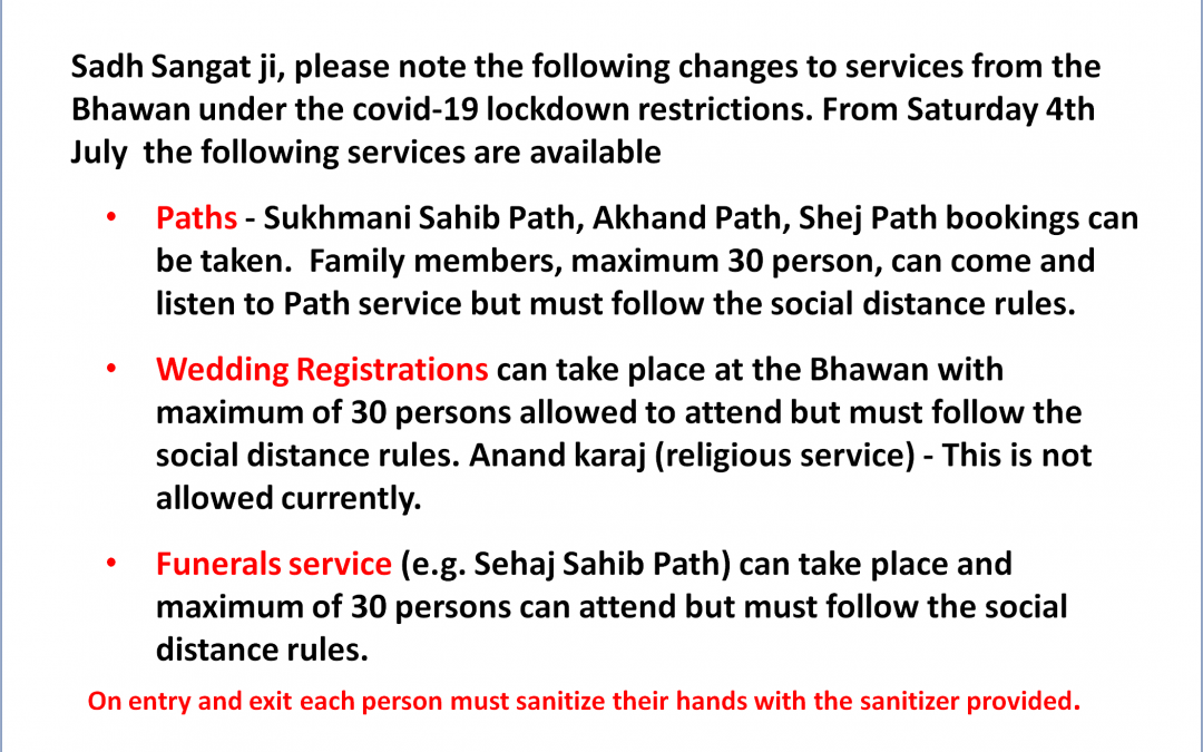 Restricted services from the Bhawan under the covid-19 lockdown Conditions
